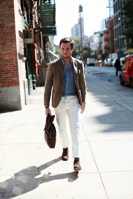 How to wear white jean for men mikado for White pants denim shirt
