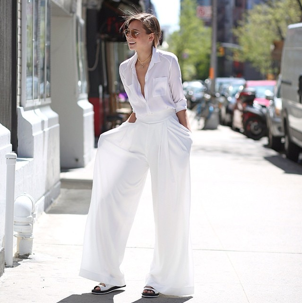 wide leg white pants - Pi Pants