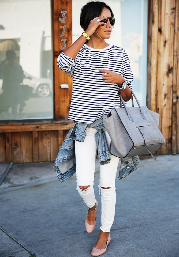 6129491260a7 How to Wear White Jeans for Summer 2016 I MiKADO