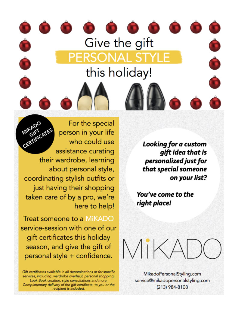 gift certificates for wardrobe styling in los angeles or nyc